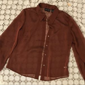 New York & Company Sheer Rust Button Up Blouse